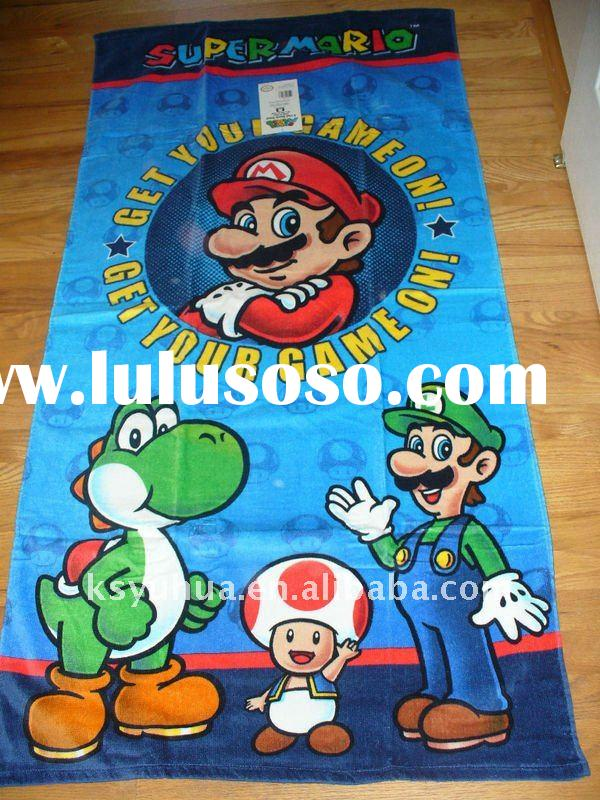 2011 New arrival ! cotton printed lovely cartoon kids beach bath towel