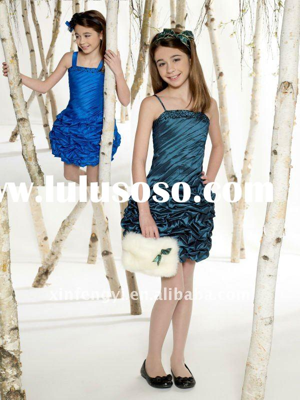 2011 Princess spaghetti straps teen girls short blue party dresses cheap