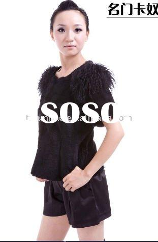2011 REX RABBIT Fur vest/waistcoat/coat/jacket/garment WITH LAMB fur COLLAR AND SHEEP LEATHER