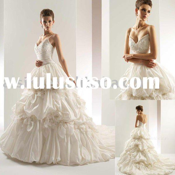 2011 T437 Jasmine Taffeta Chapel Train Bridal Gown Wedding Dresses