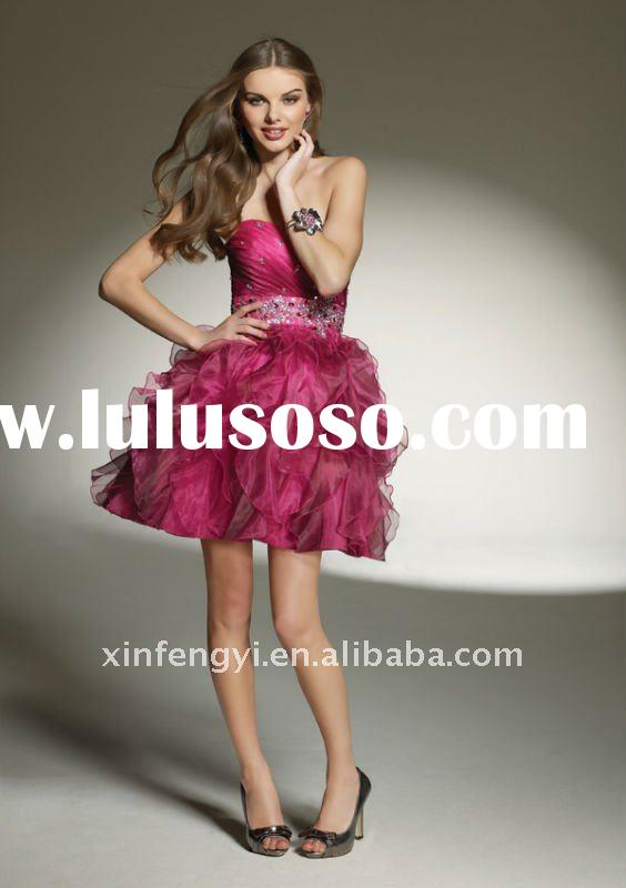 2011 latest chic shadow strapless short inspired party dresses for juniors girls