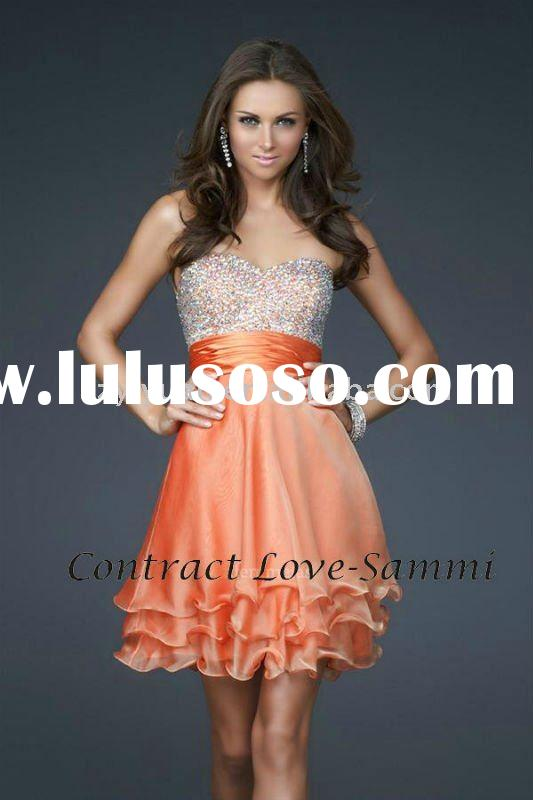 2011 latest style orange fashion short evening dress