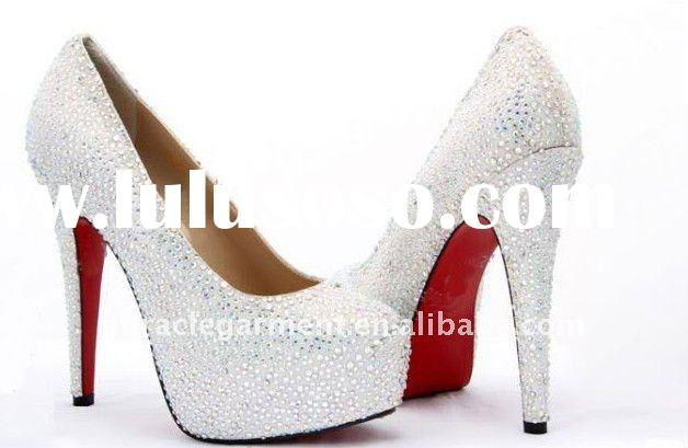 2011 new design red sole lady bridal crystal shoes