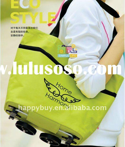 2011 new style foldable shopping bag with wheels