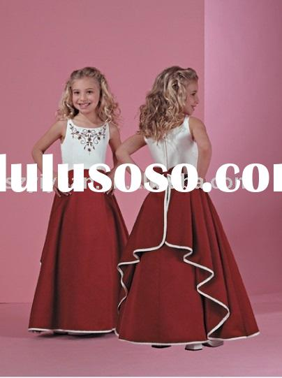 2011 new style white and red long flower girl dress
