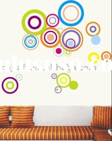 2011 newest DIY adhesive circle wall sticker home decor for children JF-0185