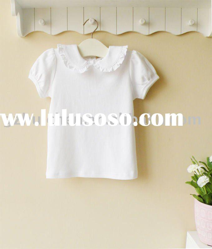 2011 summer baby wear 100% cotton plain white short sleeve t-shirt