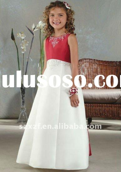 2011new style sleeveless taffeta flower girl dress patterns