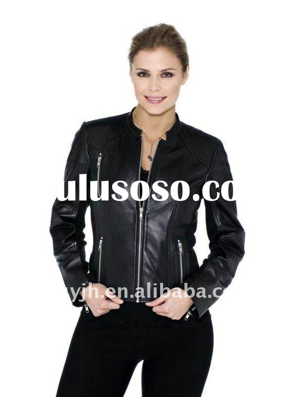 2012 Ladies Leather Jacket With Zipper Pocket