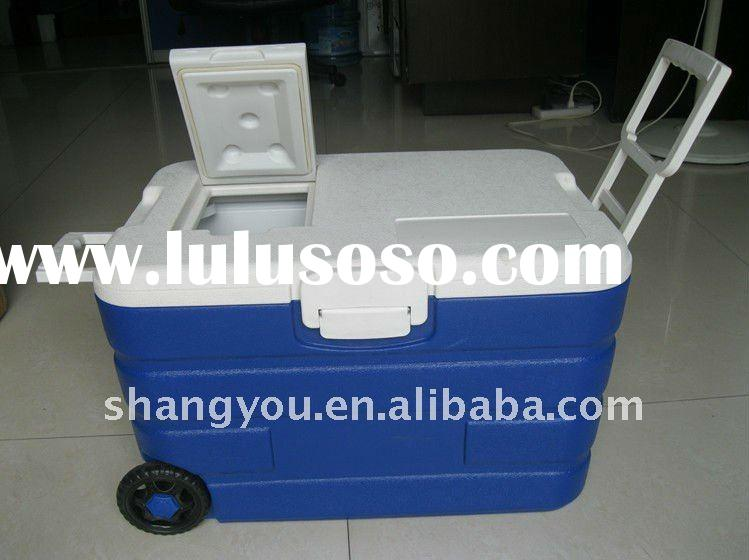40L outdoor portable plastic trolley cooler box with wheels