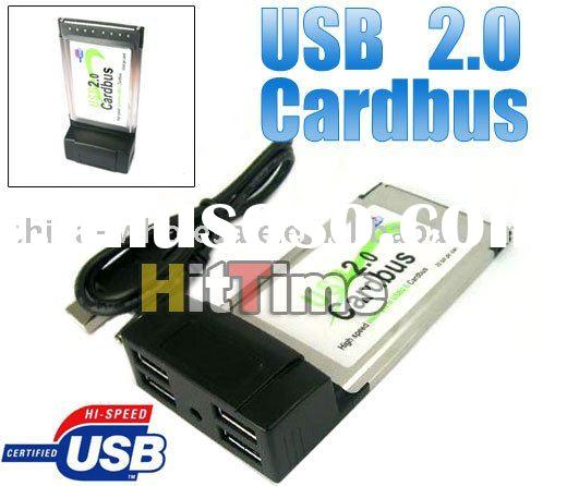 4 Port USB 2.0 HUB PCMCIA Cardbus USB Cable Adapter for Laptop Wholesale Free Shipping