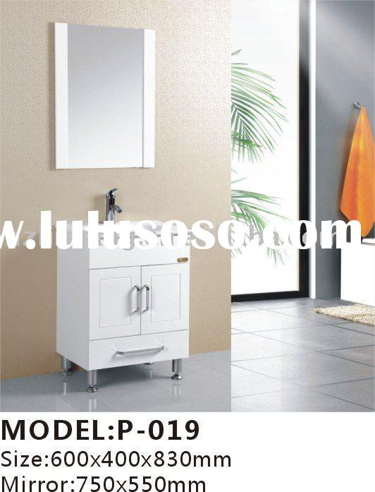 60W*83*H*40D(cm) white PVC bathroom vanity set with Single ceramic basin