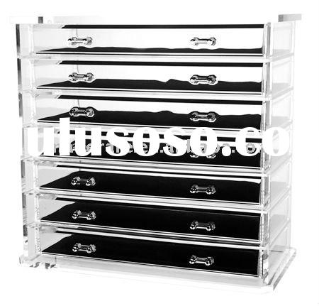 7-drawer acrylic jewelry cabinet,clear acrylic storage box