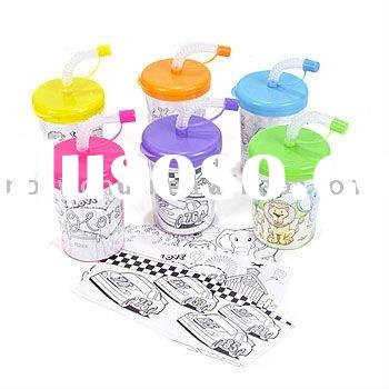 8 oz color your own cup with lid and straw