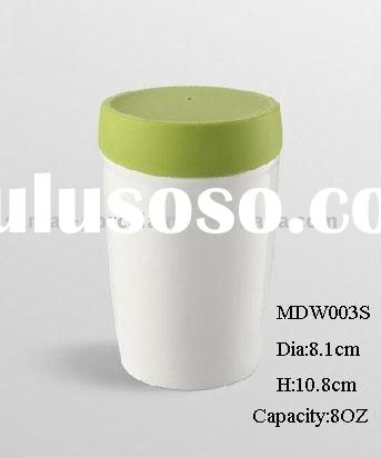 8oz eco-friendly reusable double wall coffee cup w/ silicone lid glossy finish