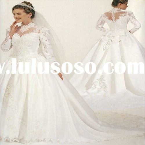 Amazing High Collar Long Sleeves Royal Ball Gown Wedding Dresses