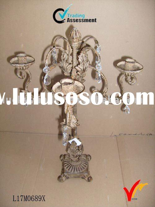 Antique metal candle holder with 4 candles