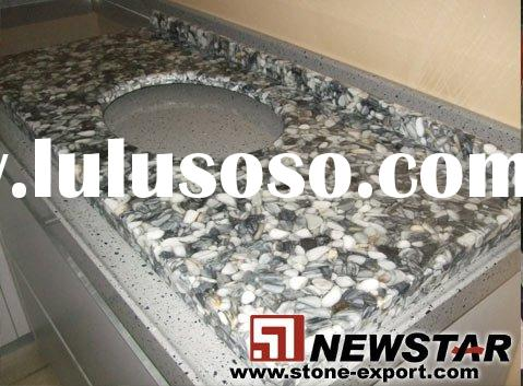 Artificial pebble vanity tops,resin pebble tops, light transparent stone panel