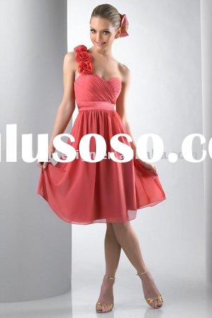 BD236 Chiffon one shoulder with fabric motif flowers short bridesmaid dresses