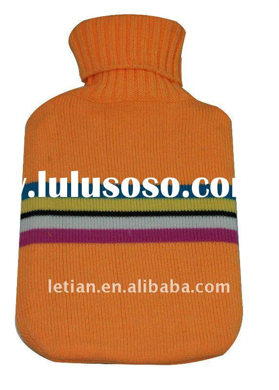 BS natural rubber hot water bottle with knitted cover