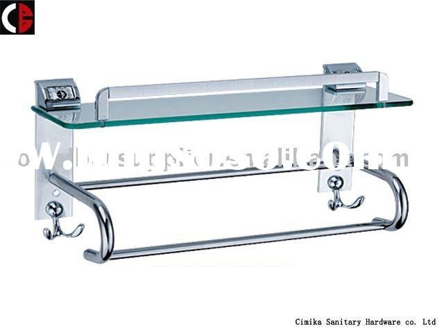 Bathroom Glass Shelf with Towel Bar and Hook MB10-1