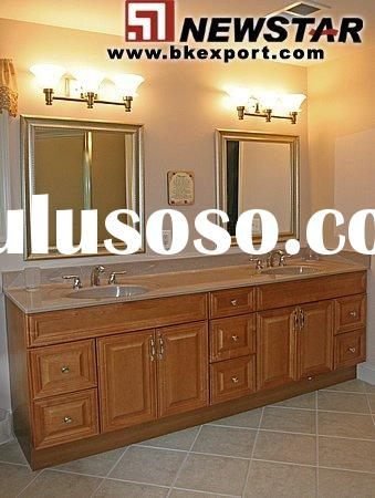Bathroom Vanity (Solid Oak Wood Bathroom Furniture with Marble Vanity Tops and Ceramic Basin)