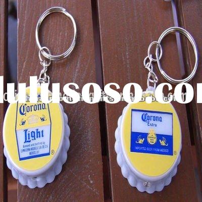 Beer bottle cap shape corona led light keychain