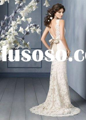 Best Selling Jim Hjelm JH8904 V-back Lace Sheath Chapel Train Bridal Gown Wedding Dresses