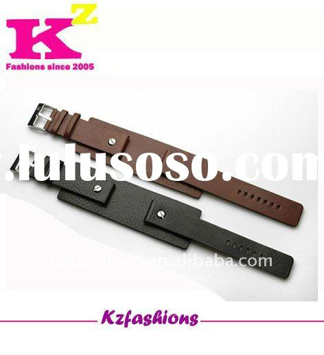 Black brown wide leather watch band kz10311