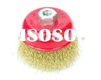 Bowl-shaped Brass Coated Crimped Steel Wire Brush