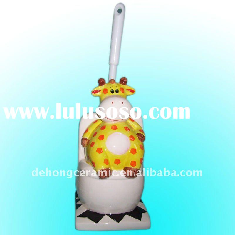 Ceramic bathrrom toilet brush holder with brush
