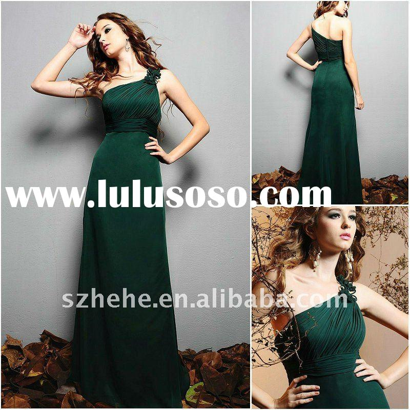 Cheap and beautiful one shoulder floor length bridesmaid dresses dark green