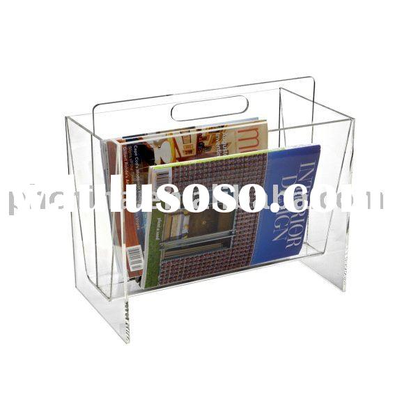 Clear Acrylic Magazine Rack with Handle;Acrylic Magazine Holder;Acrylic Magazine Display