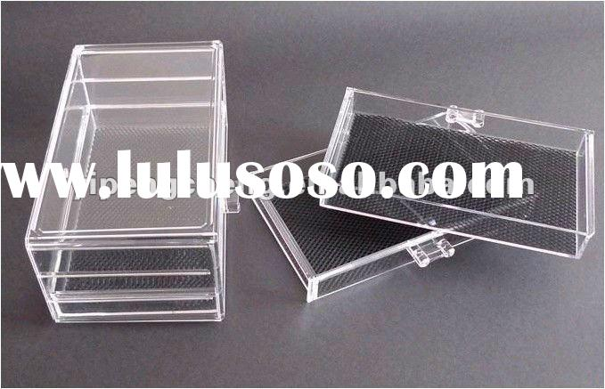Clear Crystal Plastic Acrylic Makeup Case Jewellery Box