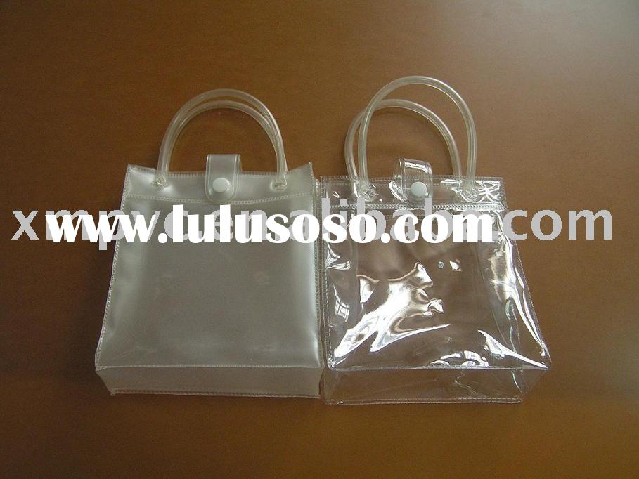Clear handle shopping plastic bag