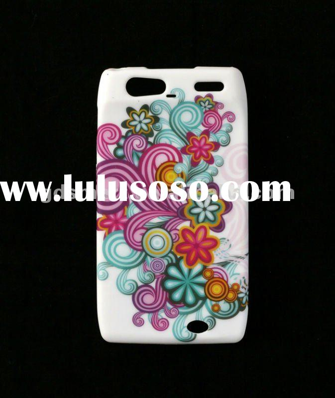 Colourful Flowers Design TPU Gel Rubberized Skin Cover Case for MOTOROLA DROID RAZR XT910 XT912