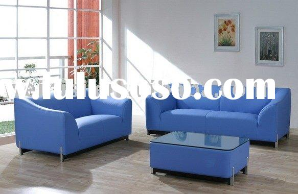 Comfortable metal base leather corner sofa with coffee table F042#