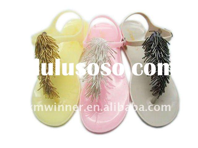 Crystal PVC jelly tassel sandals for women