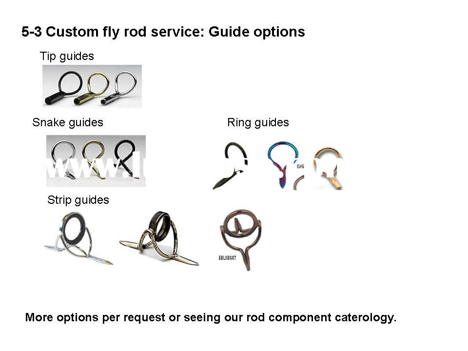 Custom fly fishing rods service 5-3: Guides for fly fishing rods