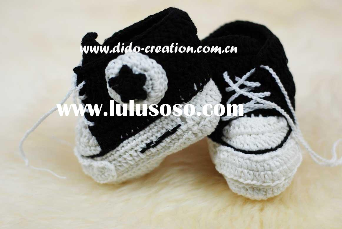 DD07027D Hand Crochet knitted Baby sport Black Shoes footwear crocheted booties