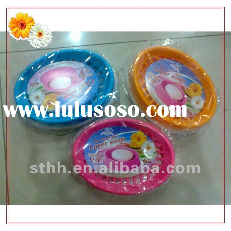 Double Layer Plastic Soap Dish In Oval-shaped