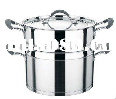 Double-layer double-bottom steam and cooking pot