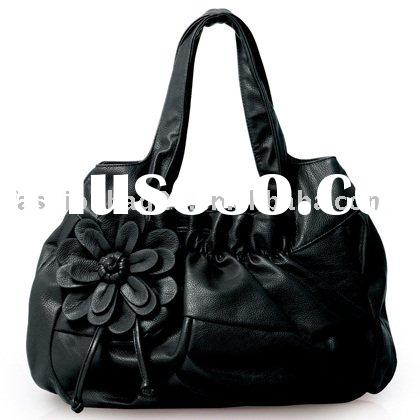 Elegant black flower fashion satchel handbag