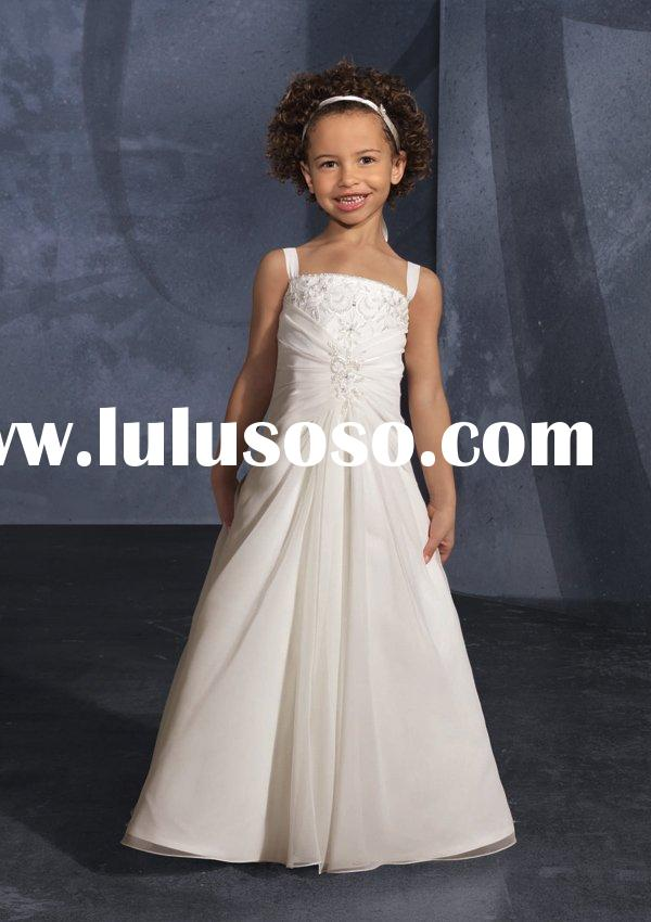 Elegant white chiffon Flower Girl Dresses ML132