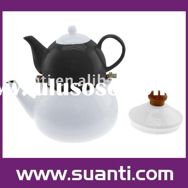 Enamel kettle + porcelain tea pot set