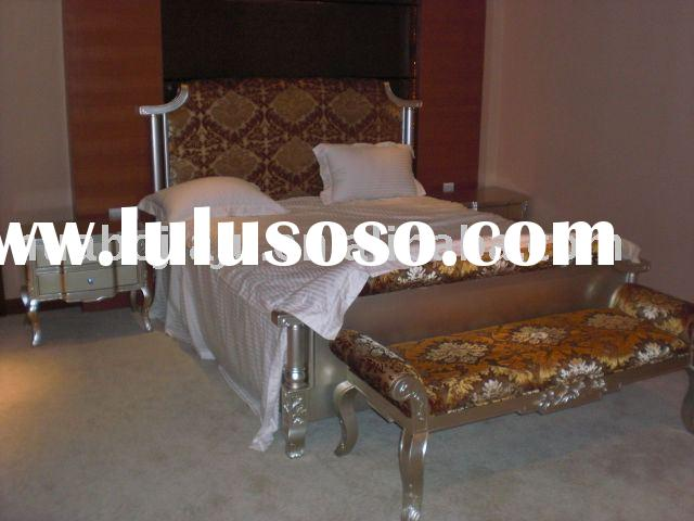 European-style bedroom furniture(Malaysia rubber wood silver paint HB-1001)