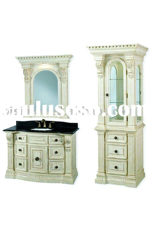 Eurpean white color soild wood bathroom cabinet, marble top with mirror