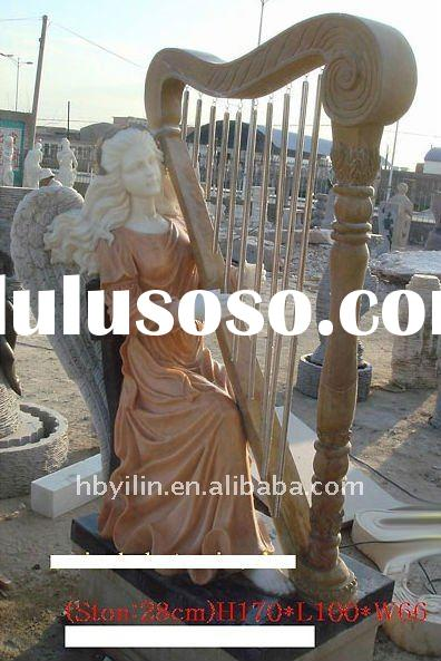 Exotic Marble Angel Harp Statue