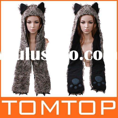 FAUX FUR ANIMAL HAT WITH LONG MITTENS BLACK WOLF