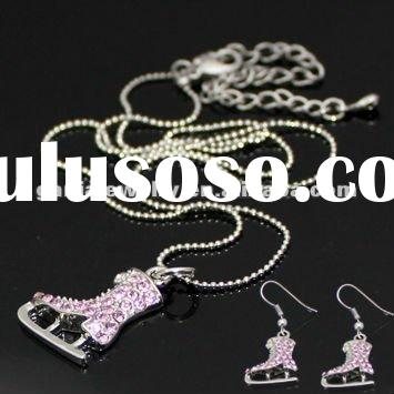 Fashion Pink Rhinestone Ice Skate Earring and Necklace Set